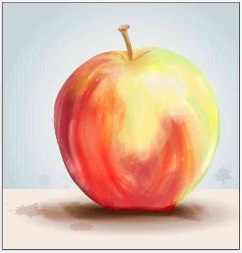 Tạo bức tranh sơn hình quả táo với tính năng Bristle Brush của Illustrator CS5