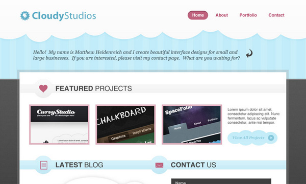 Tạo trang portfolio đơn giản, nền mây với Photoshop