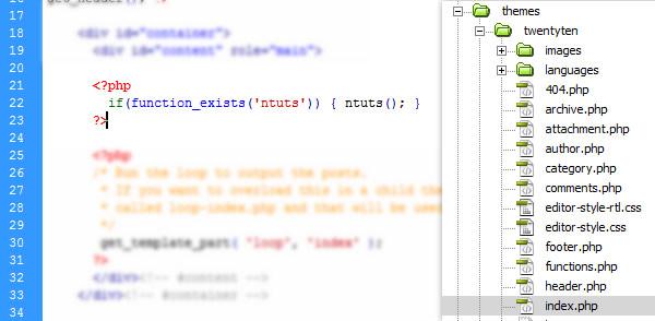 thêm đoạn mã vào trong themes